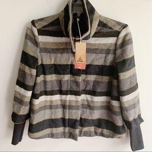 Prana Women's Lily Wool Striped Jacket In Coal